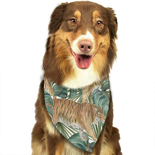 Hipiyoled Tropische Deliciosa Blätter und Tiger-Muster stilvolle Hund Bandana Kragen waschbar Reversiable einstellbare Dreieck Lätzchen -