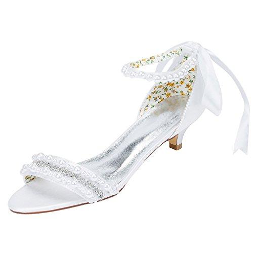 Emily Bridal Frauen Satin Kitten Heel Sandalen mit Perlen Crystal (EU41, Weiß)