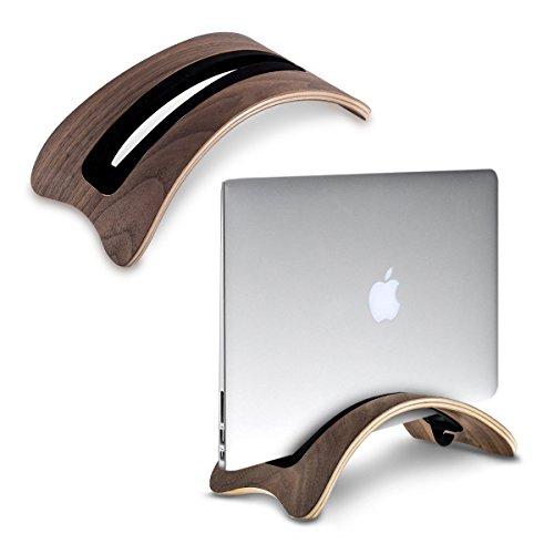 SAMDI Vertikaler Ständer für MacBook Laptop, Holz Schutzhülle Notebook Ständer Halterung mit 3 Soft Silikon fügt Ersatz für Apple MacBook Air Pro Retina Black Walnut