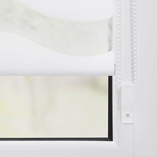 Lichtblick Duo-Rollo Welle Klemmfix, 90 cm x 150 cm (B x L) in Weiß, ohne Bohren, Doppelrollo mit Jalousie-Funktion, dekorativer Sonnen- & Sichtschutz, für Fenster & Türen - 7
