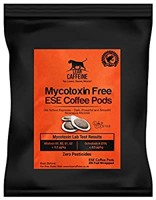 Lean Caffeine ESE 44mm Paper Espresso Coffee Pods (25) | Bulletproof ES / E.S.E Coffee Pods | Lab Free of Pesticides & Mycotoxins | Strong & Smooth