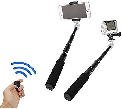 Fotopro mini trípode establece palo para autofoto, adaptador de teléfono móvil, disparador remoto Bluetooth para la cámara, Gopro, iPone, Samsung y otros teléfonos inteligentes