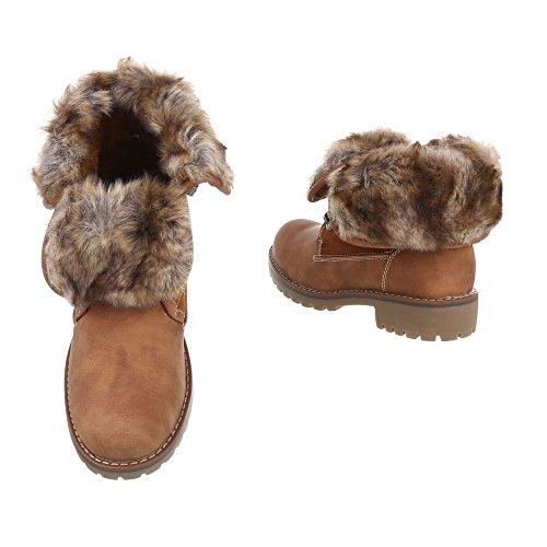Schnürstiefeletten Damenschuhe Klassischer Stiefel Blockabsatz Schnürer Schnürsenkel Ital-Design Stiefeletten Camel