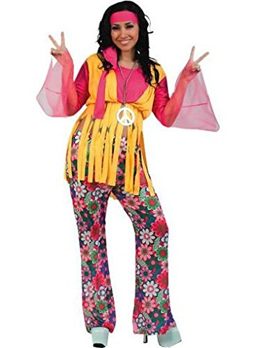 Fyasa 701853-t04 Hippie Girl Fancy Dress Kostüm, pink, groß