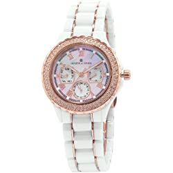 Herzog & Söhne Women's Quartz Watch with Mother of Pearl Dial Analogue Display and White Ceramic Bracelet HS202-586