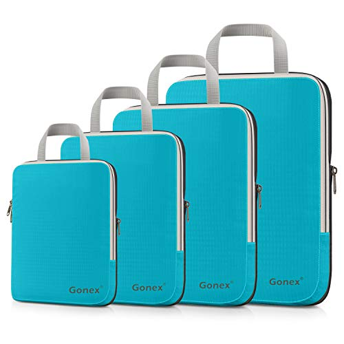 Compression Packing Cubes 3/4er Set, Gonex Kleidertaschen 4-teilig Verpackungswürfel, Kleidertaschen Set, Kofferorganizer Reise Würfel, Blau(4er) (Kompakte Kleidungsstück Tasche)