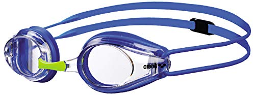 arena Kinder Unisex Training Wettkampf Schwimmbrille Tracks Junior (UV-Schutz, Anti-Fog, Harte Gläser), blau (Clear-Blue-Blue), One Size (Schwimmbrille Junior)