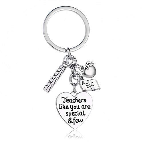 GANGXIA Schlüsselbund Lehrer wie Sie sind spezielle wenige Silber Herz Anhänger Schlüsselbund Lineal Buch Charme Schlüsselanhänger Geschenk für Lehrer
