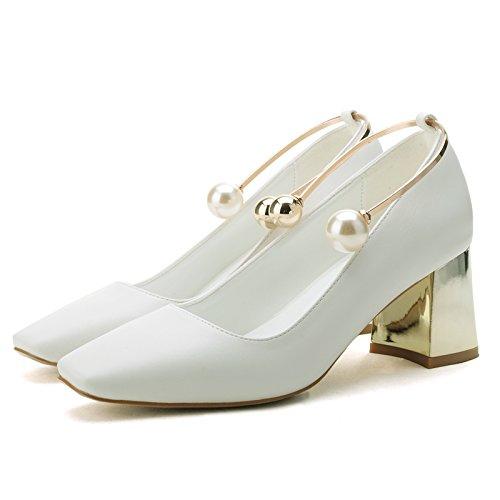 SHOESHAOGE Le Printemps Et L'Automne Black Talons Femme Bouche Peu Profonde Pearl White Épais Avec Un Mot Chaussures Boucle Couleur unie