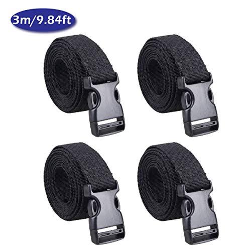 TRIWONDER 25mm Schwarz Nylon Gurtband mit Verstellbare Schnallen, 4 Stück (Schwarz - 3m)