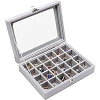 Lavcus 24 Section Velvet Glass Jewelry Ring Display Organiser Case Tray Holder Earrings Storage Box