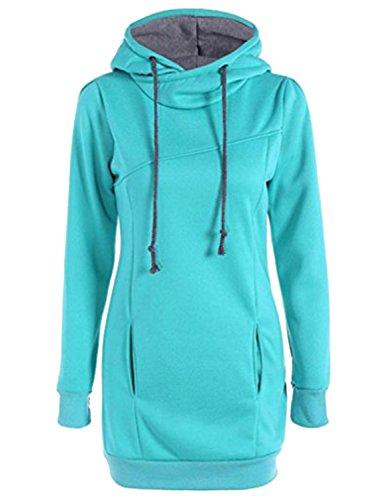 40bcbc2bdf Femme Sweatshirt Hoodie à capuche Automne Hiver Manches Longues Sweat Pull  Tunique Vintage Décontractée Hooded Blouse
