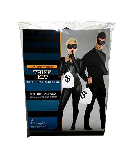 Dieb Kostüm-Set Maske, Handschuhe & (Kostüm Dieb Maske)