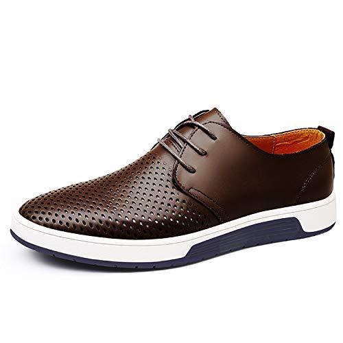 Herren Freizeit Schuhe Aus Leder Business Anzugschuhe Mesh Atmungsaktiv Lederschuhe Oxford Halbschuhe Zum Schnürer Flache Slipper für Party Hochzeit Grau Übergrößen 40