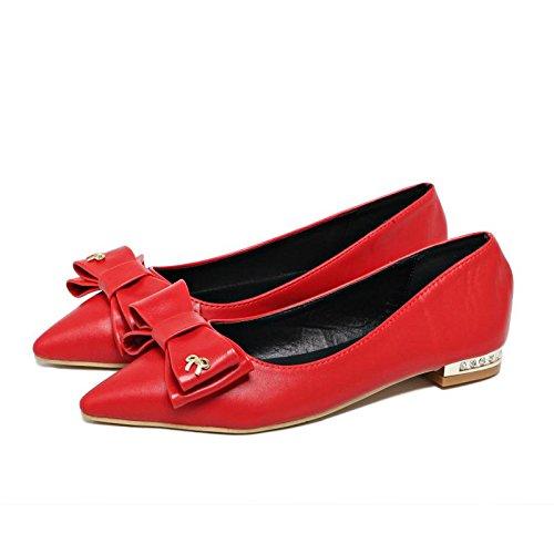 LvYuan-mxx Chaussures femmes / printemps été / pointu orteil / sweet Bow tie strass chaussures bouche superficielle / Confort Casual / Bureau & Carrière Robe / bas Talons hauts RED-35