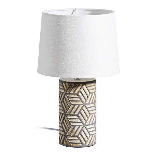 LOLAhome Lámpara de mesita de Noche exótica de cerámica Gris de 38 cm