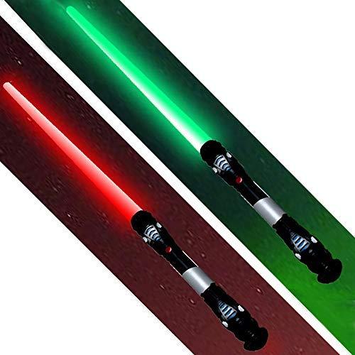 tevenger 2 Stück XXL Lichtschwert Laserschwert Licht Sound Vibration 108 cm Schwert Kostüm Verkleidung Kinder Grün Rot