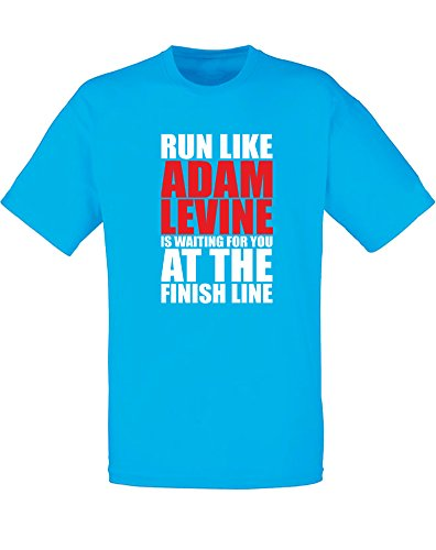 run-like-adam-levine-is-waiting-imprime-des-hommes-t-shirt-azur-blanc-rouge-2xl-119-124cm