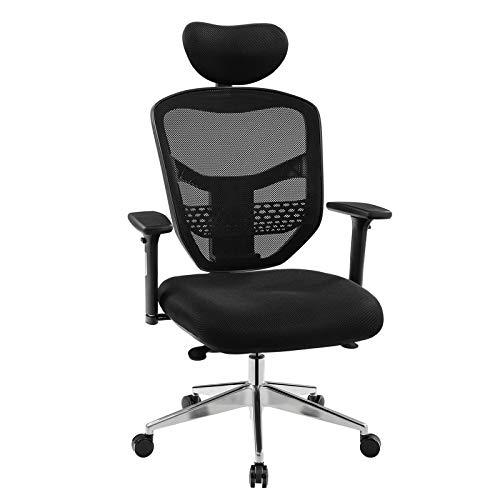 Songmics sedia da ufficio ergonomica a rete, poltrona girevole da ufficio, traspirante, con braccioli regolabili in 3d, schienale regolabile in altezza, base in lega di alluminio, obn63bkuk