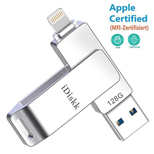 MFi Zertifiziert 128GB USB Stick für iPhone iPad Externer Speicher Flash Drive Kompatibel mit iPad,i iPhone X/XS/XR/5/6/7/8,iPad Mini,iPad air,iPod,Mac and Computers iDiskk Speichererweiterung