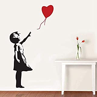 BANKSY GIRL WITH HEART BALLOON VINYL WALL ART DECAL STICKER 120CM (H) X 60CM (W)