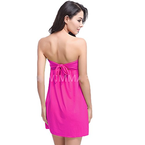 Andyshi – Donne sexy senza spalline increspature cover-up Beach Dress Rose
