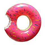 #8: Sheng TS Donut Pool Float,48-Inch Inflatable Donut Adults for Relaxing or Swimming Pink Nose Clip and Earbuds as Gift