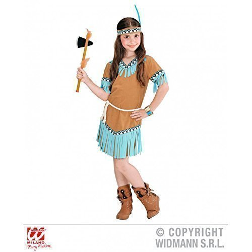 Lively Moments Indianerkostüm für Kinder in braun Indian Girl (Kleid, Gürtel, Stirnband) Kinderkostüm Gr. 2 - 3 Jahre ca. 104 - Kind Weiß Indian Girl Kostüm