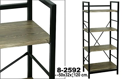 DRW - Estantería 4 Niveles Metal Negra con baldas de Madera de Estilo Industrial 50x32x120 cm