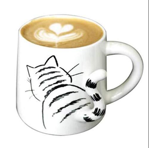 JiuErDP Tasse, süße süße Katze Tasse/Hund Tasse/kleine Schwanz Kontrolle Tasse/trapezförmige Kaffeetasse, zu Hause Frühstück Tasse Wasserbecher (Color : Cat Tail Cup)