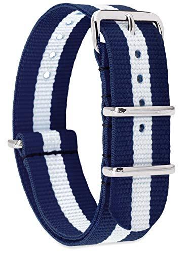 MOMENTO Damen Herren NATO Nylon Uhren-Armband Ersatz-Armband Uhren-Band mit Edelstahl-Schliesse in Silber und Nylon Uhr-Armband in Blau Weiss 18mm