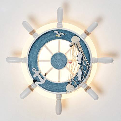 Tea fairy LED Wandleuchte, Blau/Weiß Dekorative Laterne Wandleuchte, Mediterranen Stil Indoor RudderWall Mount Beleuchtung Für Schlafzimmer Closet Guest Room Hall (Color : Blue)