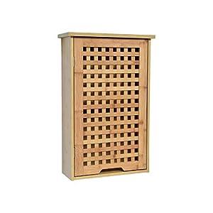 TENDANCE Armario Baño Pared Koh Lanta 1 puerta con 1 Estante Interior – Mueble Baño Bambú 40 x 15 x 61,5 cm