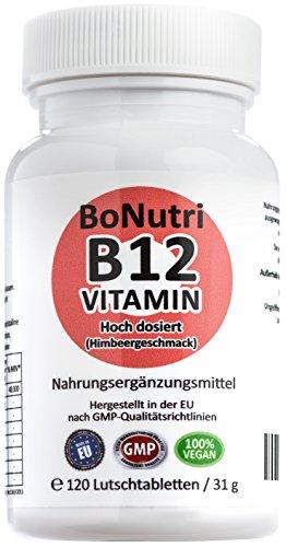 BoNutri Vitamin B12 1.000 µg Tagesdosis 120 vegane Lutschtabletten Ohne Magnesiumstearat Beste Qualität Konzentrat Hochdosiert konzentriert 4-Monatsbedarf Vegan Glutenfrei Laktosefrei