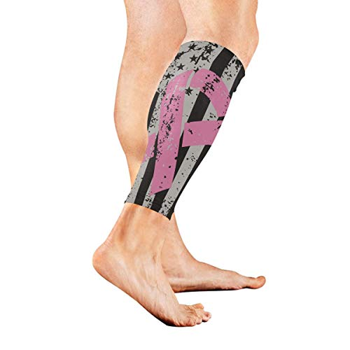 Breast Cancer Awareness Ribbons Big American Flag Sports Calf Compression Sleeve Strong Calf Support for Runners(1 Pair) -