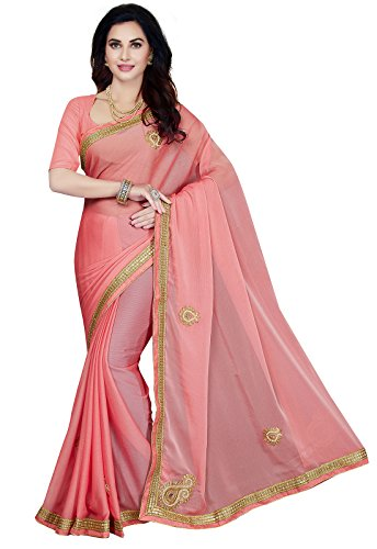 Ishin Tissue Net Pink Embellished Bollywood Women's Saree