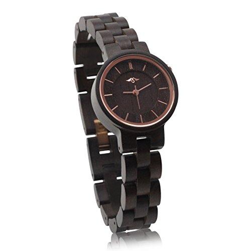 Angie Wood Creations Ebenholz Damenuhr mit Ebenholz-Armband und -Ziffernblatt (Kleiderschrank Jeder Frau)