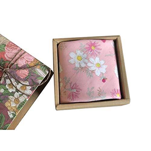 Chinashow Womens/Girls Vintage Floral Print Baumwolle Taschentücher Floral Taschentuch mit Geschenkbox A06