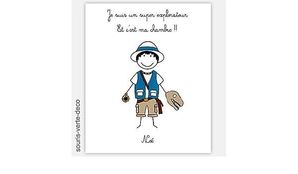 Plaque De Porte Explorateur Avec Prénom Déco Chambre Garçon Enfant