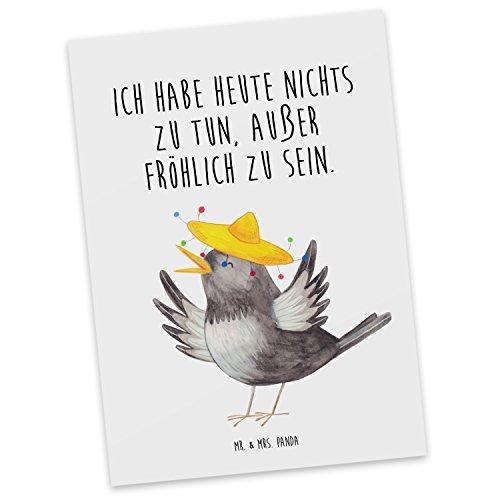 Mr. & Mrs. Panda Postkarte Fröhlich sein - 100% handmade in Norddeutschland - Rabe, Sombrero, Geschenk, fröhlich, happy, glücklich, Motto, Spruch, Zitat Postkarte, Postkarten, Einladungskarte, Geschenkkarte, Brief, Spruch des Tages, Kärtchen, Geschenk, Karte, Papier, Einladung Rabe, Sombrero, Geschenk, fröhlich, happy, glücklich, Motto, Spruch, Zitat