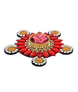 Suman Creations Foam Floating Candle holder Showpiece (0.5X16.51X12.7, Red)