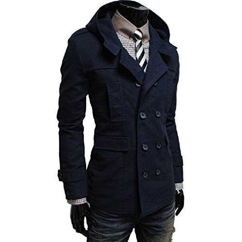 CuteRose Men College Jacket Hooded Fashion Double-Breasted Jacket Overcoat Navy Blue L -
