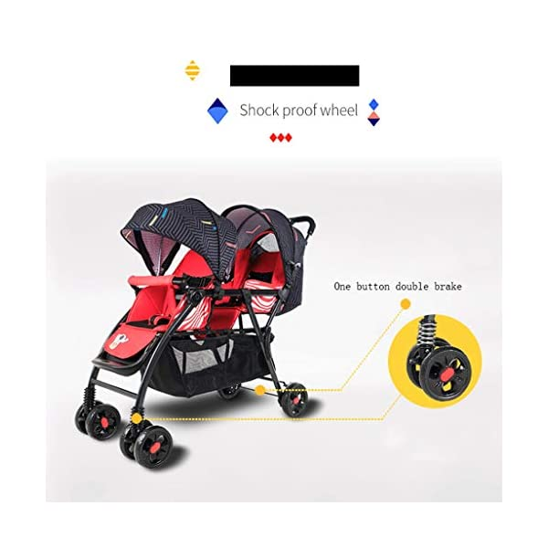 Pushchairs Prams Lightweight Double Stroller, Foldable Reflective Five-point Seat Belt Brake Damping Design Adjustable Twin Stroller Baby Pushchairs (Color : Red) LOFAMI-Pushchairs ★ The stroller is an essential tool for the baby to travel, so that the baby can sit or lie inside, and the parents can push the car to walk, The baby stroller can let the baby rest and play in addition to the baby. ★ Pushchairs Strollers Toddlers Prams Travel Girls Car Seat Baby Cover Pink Lightweight Wheels Organizer Buggies Boys Pram Trolleys Raincover Twins Blue System Reclines Combo Fold Tricycles Toys Carrier Set Holder High Bassinet Adjustable Black Newborns Plastic Visor Carriage Airplane Awning Safety Base Basket Compact Single Luxury Pushchair Kids' Trikes Landscape Portable Large Storage Height Children Folding Parasol Sunshade Clips Liner Babies Universal Rain Grey Clip White Green. Lightweight double stroller for easy access to elevators, subway gates, etc., weighing only 8.9kg, small size and space saving. 6