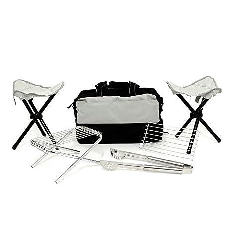 Pince pliable, tabourets, Mini Grill et sac isotherme pour barbecue extérieur Camping pique-nique