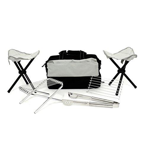 Zange, klappbar Hocker, Mini Grill und Kühltasche für BBQ Outdoor Camping Picknick (Wasserkocher Pizza Grill)