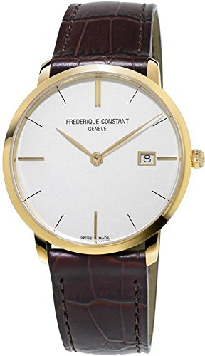Frederique Constant Men's Slimline 38.4mm Brown Leather Band Gold Plated Case Quartz Analog Watch 220V5S5