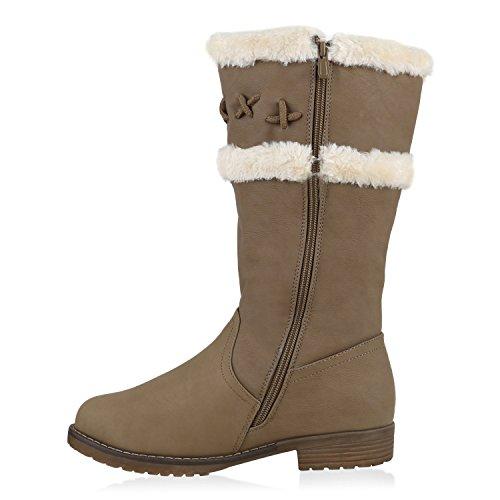 Warm Gefütterte Damen Stiefel Kunstfell Winterstiefel Boots Khaki Braun