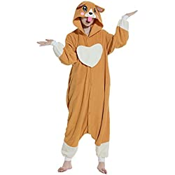 Pijama de perro marron con capucha.