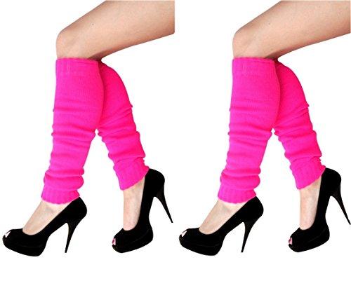 krautwear Damen Beinwärmer Stulpen Legwarmers Overknees gestrickte Strümpfe 80er Jahre 1980er Jahre, 2xpink, Einheitsgröße