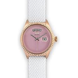 Watch Marco Mavilla Vintage Summer Enamel Pink Perlon Strap White